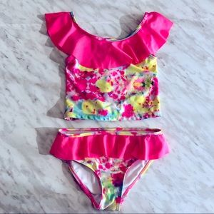 Girls NEON Betsey Johnson 2 Piece Bathing Suit 6